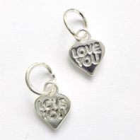 10 Silver Plated 12x10mm Love Message Charms
